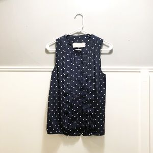 recycled vintage navy + while polka dot top